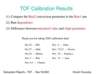Subsystem Reports , TOF  ,  Nov/16/2001Hiroshi Tsuruoka