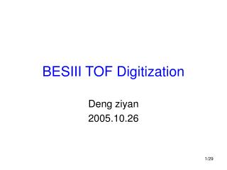 BESIII TOF Digitization