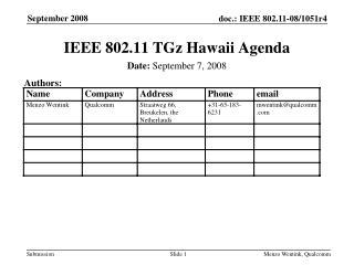 IEEE 802.11 TGz Hawaii Agenda