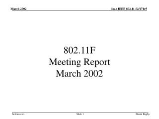 802.11F  Meeting Report March 2002
