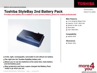 Toshiba StyleBay 2nd Battery Pack