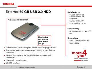 External 60 GB USB 2.0 HDD