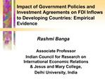 Impact of Government Policies and Investment Agreements on FDI Inflows to Developing Countries: Empirical Evidence