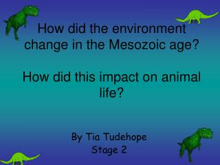 How did the environment change in the Mesozoic age? How did this impact on animal life?