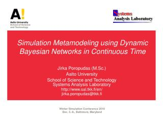 Simulation  Metamodeling  using Dynamic Bayesian Networks in Continuous Time