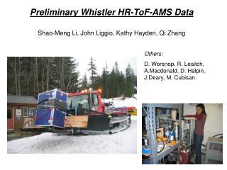 Preliminary Whistler HR-ToF-AMS Data Shao-Meng Li, John Liggio, Kathy Hayden, Qi Zhang
