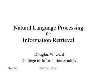 Natural Language Processing  for Information Retrieval
