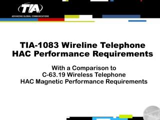 TIA-1083 Wireline Telephone HAC Performance Requirements