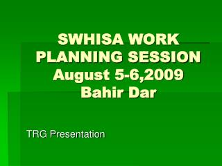 SWHISA WORK PLANNING SESSION August 5-6,2009 Bahir Dar