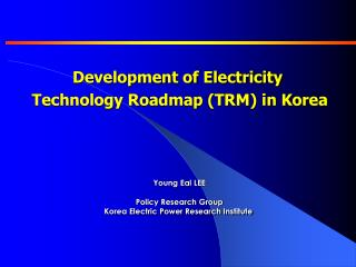 Development of Electricity  Technology Roadmap (TRM) in Korea