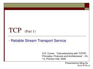 TCP   (Part 1)
