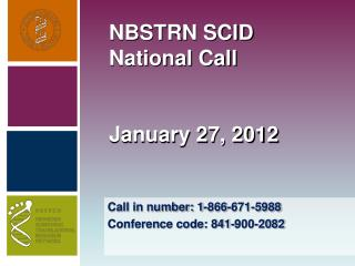 NBSTRN SCID National Call January 27, 2012