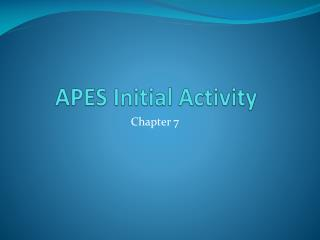 APES Initial Activity