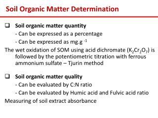 Soil Organic Matter Determination