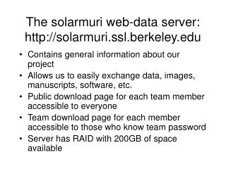 The solarmuri web-data server: solarmuri.ssl.berkeley