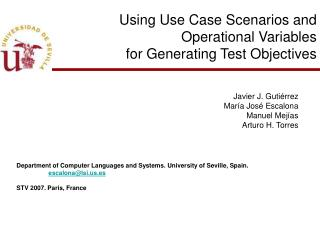 Using Use Case Scenarios and Operational Variables for Generating Test Objectives