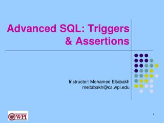 Advanced SQL: Triggers & Assertions