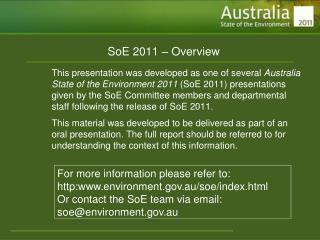 SoE 2011 � Overview