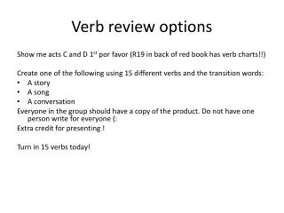 Verb review options