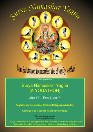 Participate in the Surya Namaskar* Yagna (A YOGATHON) Jan 17 – Feb 1, 2015