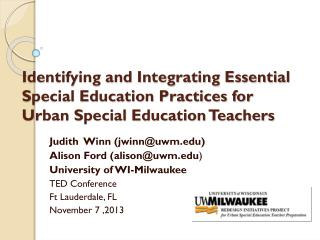 Judith  Winn (jwinn@uwm) Alison Ford (alison@uwm ) University of WI-Milwaukee