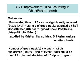 SVT Improvement (Track counting in GhostBuster board)