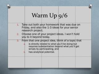 Warm Up 9/6