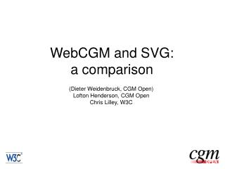 WebCGM and SVG: a comparison