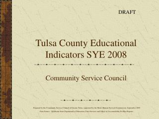 Tulsa County Educational Indicators SYE 2008