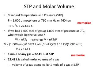 STP and Molar Volume