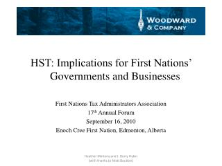 HST: Implications for First Nations' Governments and Businesses