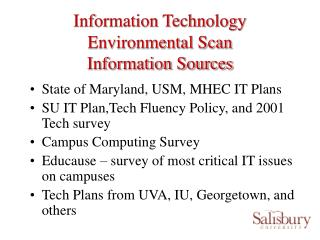 Information Technology Environmental Scan Information Sources