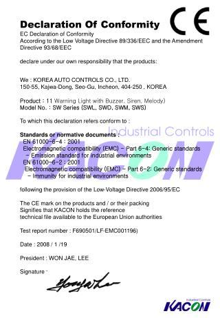 Declaration Of Conformity EC Declaration of Conformity