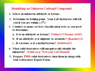 You have  two weeks  to identify your Unknown Carbonyl compound.