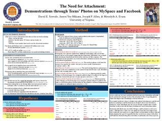 The Need for Attachment:  Demonstrations through Teens' Photos on MySpace and Facebook