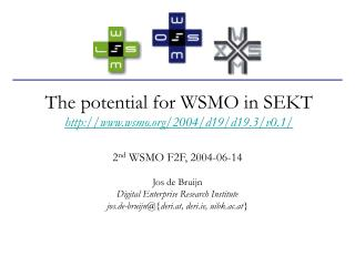 The potential for WSMO in SEKT wsmo/2004/d19/d19.3/v0.1/