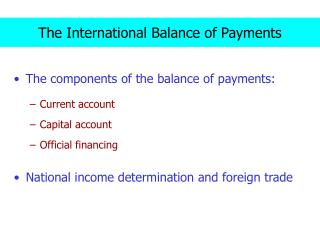 The International Balance of Payments