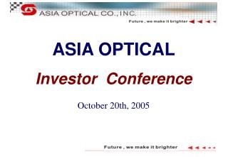 AS IA OPTICAL Investor  Conference October 20th, 2005