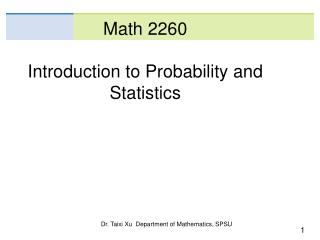 Math 2260 Introduction to Probability and Statistics