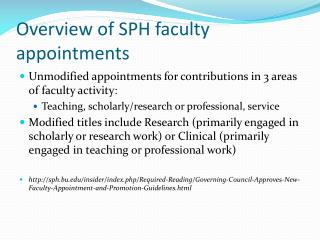 Overview of SPH faculty appointments