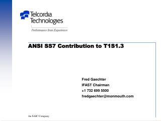 ANSI SS7 Contribution to T1S1.3