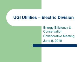 UGI Utilities – Electric Division