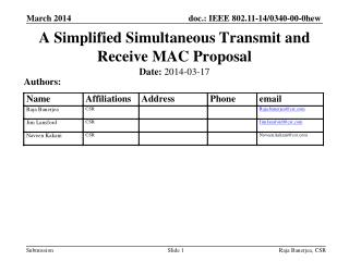 A Simplified Simultaneous Transmit and Receive MAC Proposal