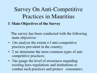 Survey On Anti-Competitive Practices in Mauritius