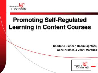 Promoting Self-Regulated Learning in Content Courses