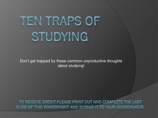 Ten Traps of Studying
