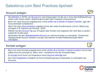 Salesforce Best Practices tipsheet