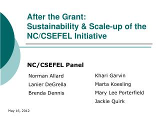 After the Grant:  Sustainability & Scale-up of the NC/CSEFEL Initiative