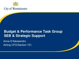Budget & Performance Task Group SEB & Strategic Support