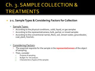 Ch. 3. SAMPLE COLLECTION & TREATMENTS